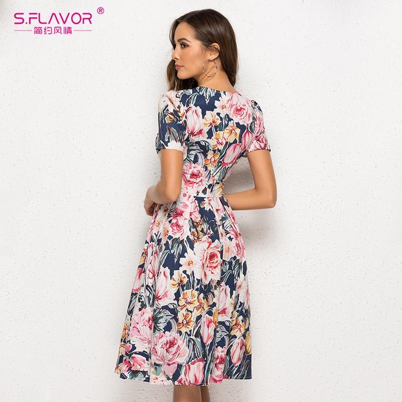 Image 5 - S.FLAVOR Women Floral Printed A line Dress Elegant O neck Three Quarter Sleeve Short Midi Dress Vintage Women Casual DressesDresses   -