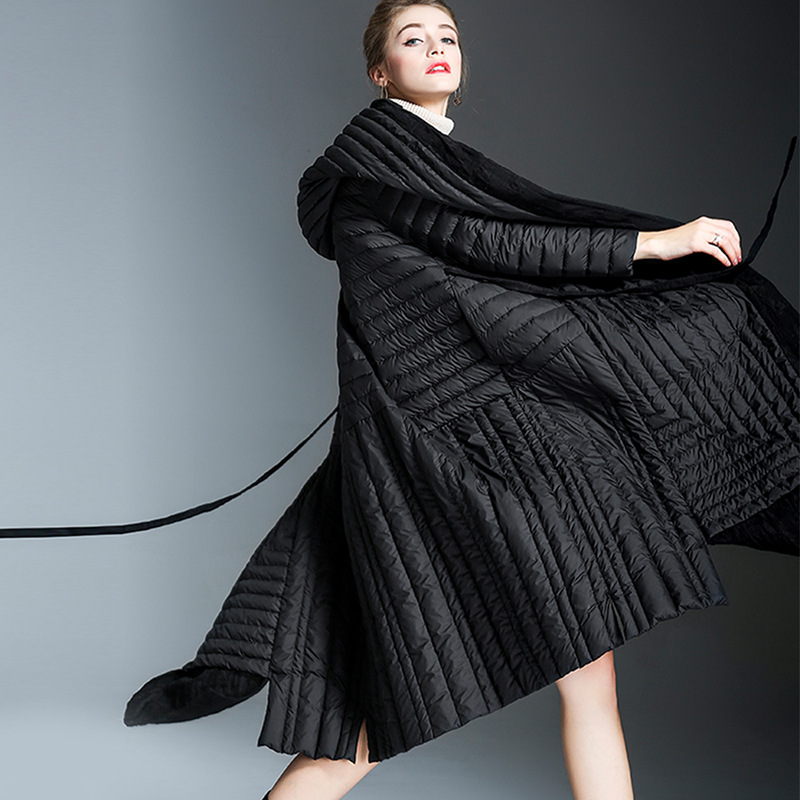 2018 new autum and winter duck down coat jackets women long irregular