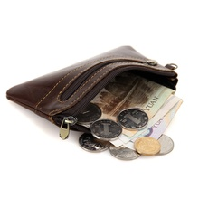 Genuine Leather Slim Women Coin Purse Men Zipper Around Wallet Card Holder 8118Q  цена