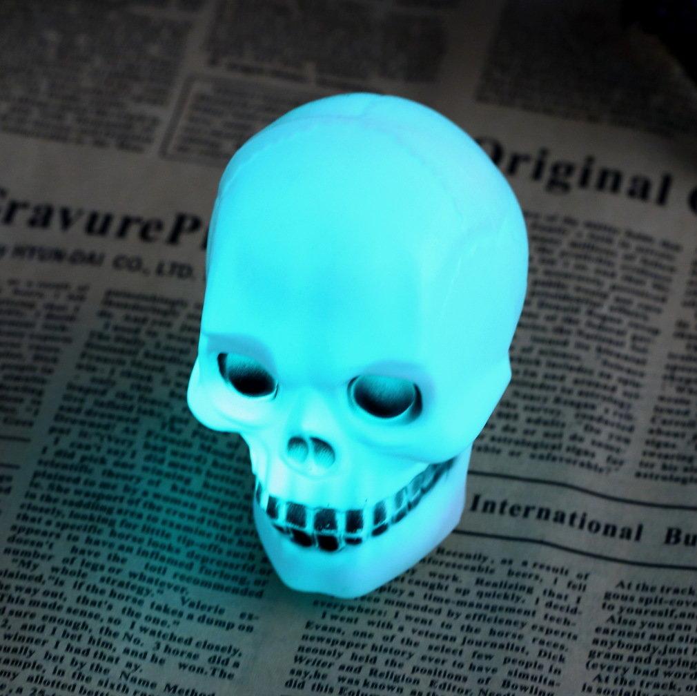 Halloween Colorful Flash LED Skull Night Light Decoration Skulls Of Lamps Gift _WK