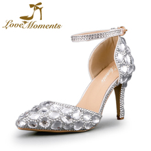 Silver Crystal Diamond Pointed Toe Pink Wedding Shoes for Bride Women Birthday Party Shoes High Heels Ankle Straps Size 10