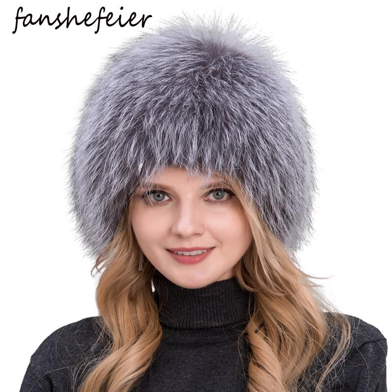 Fanshe Frauen Hut Fuchspelz Hut Weiblichen Ohr Warme Winter Muss Naturliche Silber Fuchspelz Frauen Winter Hut Gestrickte