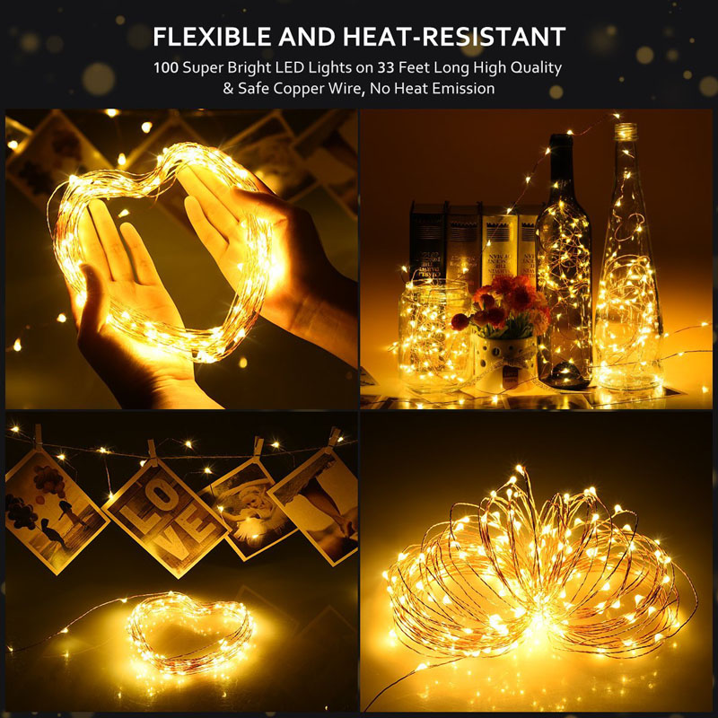 LED String light Silver Wire Fairy warm white Garland Home Christmas Wedding Party Decoration Powered by Battery batter USB 10m 1