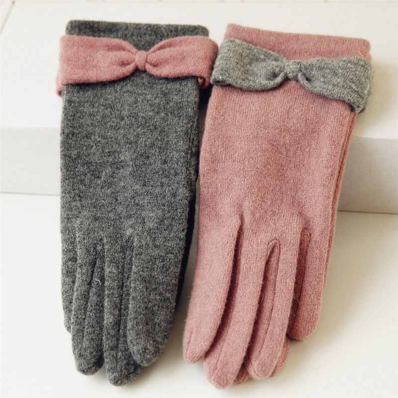 2018 NEW Women Knitted Wool Gloves Single Layer Thin Solid Color Keep Warm Elegant Bow knot Five Fingers Lady Glove T047