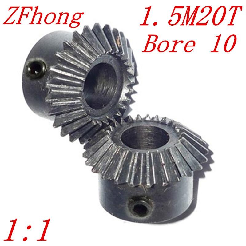 цена на 1 pair 1.5M20T bore 10 1:1 Metal Bevel Gears 1.5 Module 20 Teeth With Inner Hole 10mm 90 Degree Drive Commutation