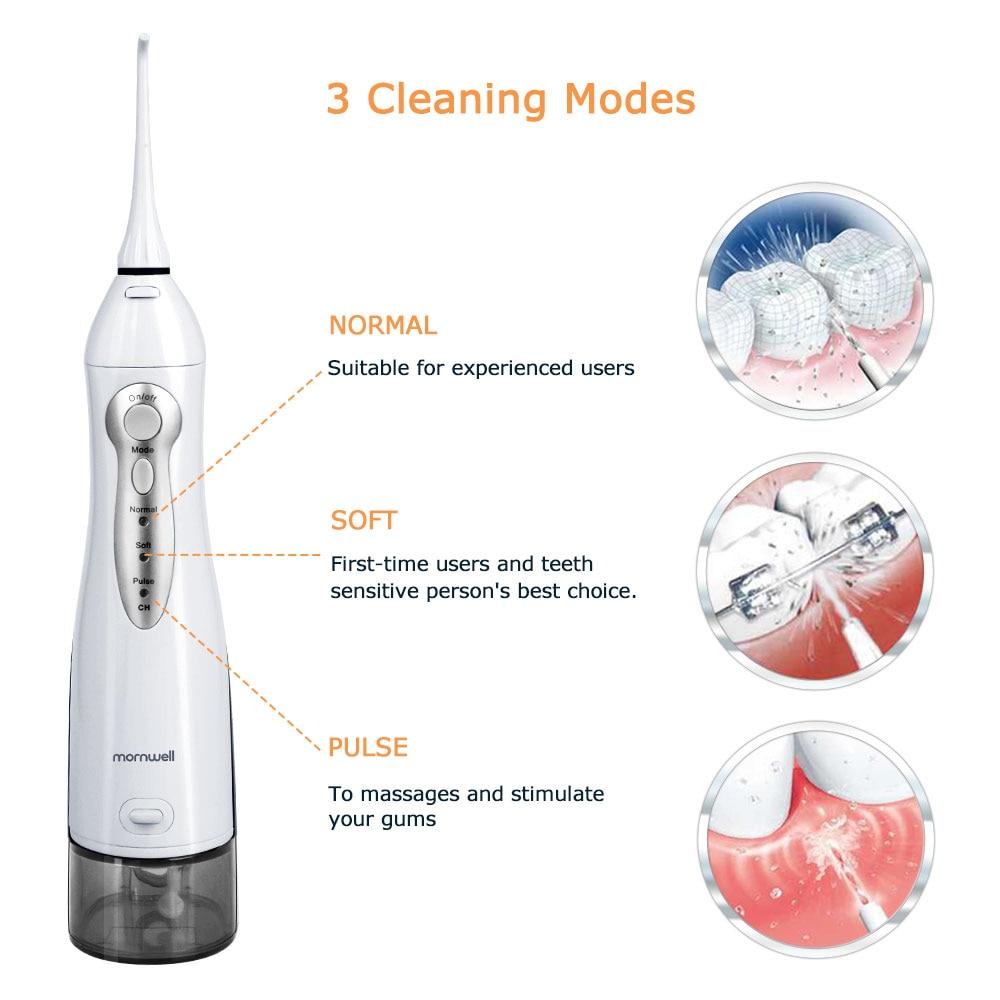 Oral Irrigator USB Rechargeable Water Flosser Portable Dental Water Jet 300ML Water Tank Waterproof Teeth Cleaner 3