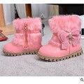 2016 новые зимние девушки обувь Корейский кролик рот теплый снег плоские сапоги скольжения