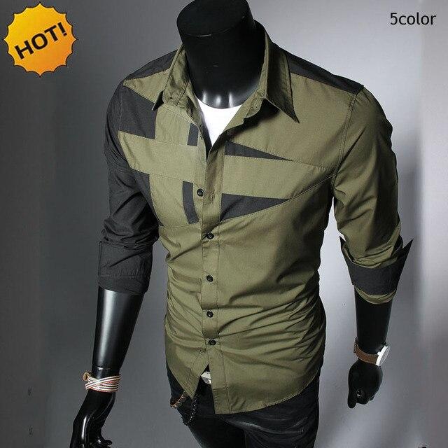 2017 Spring Autumn Mens irregular patchwork long sleeve Casual Shirts Army Green/Black/Red/White/Grey camisa masculina shirt Men