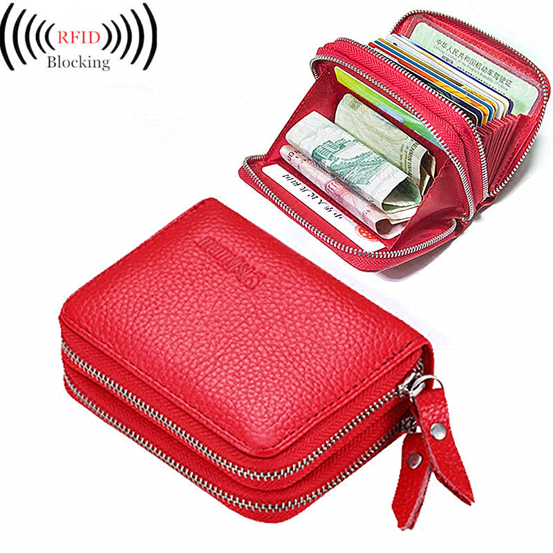 New Fashion Genuine Leather Man Women ID Card Holder Wallet High Capacity Credit Card Ho ...