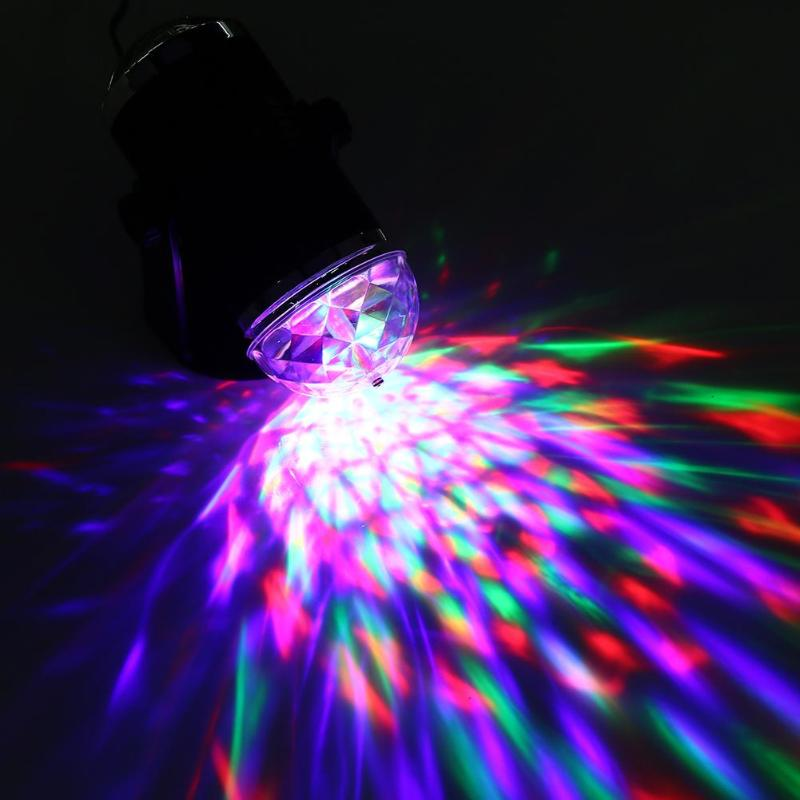Professional DJ Light Voice Activated Colorful Crystal Magic Mini Disco Ball LED Auto Rotating Lamp for KTV Party Stage Light