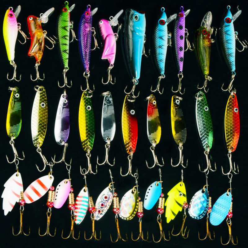 Free Shipping 30pcs/lot Mixed Colo Fishing Lure Set Fishing Tackle Spoon/Spinner/Hard Lure Artifical Bait Pesca