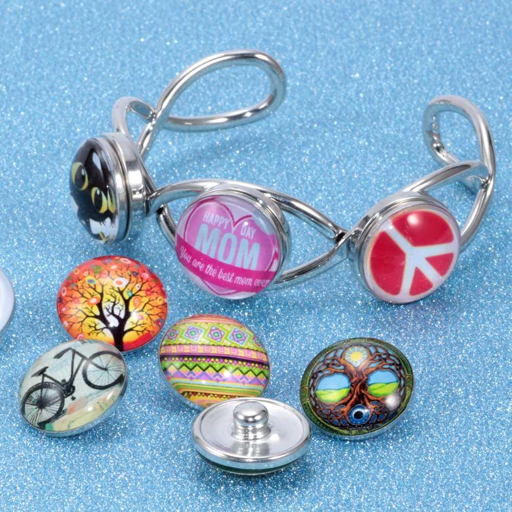 12 sztuk/partia kolorowe czaszki wzór Charms 18mm szkło przystawki przycisk dla bransoletka Zrób To Sam zatrzaski biżuteria KZ0229
