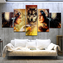5 Panel HD Print  Painting Indians and Wolf wall posters On Canvas Art For home living room decoration