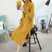 Turtleneck Sweater Dress 2019 Autumn Winter Brief High Neck Long Sleeve Stretch Bodycon Dress Knitted Sweater Dresses For Women