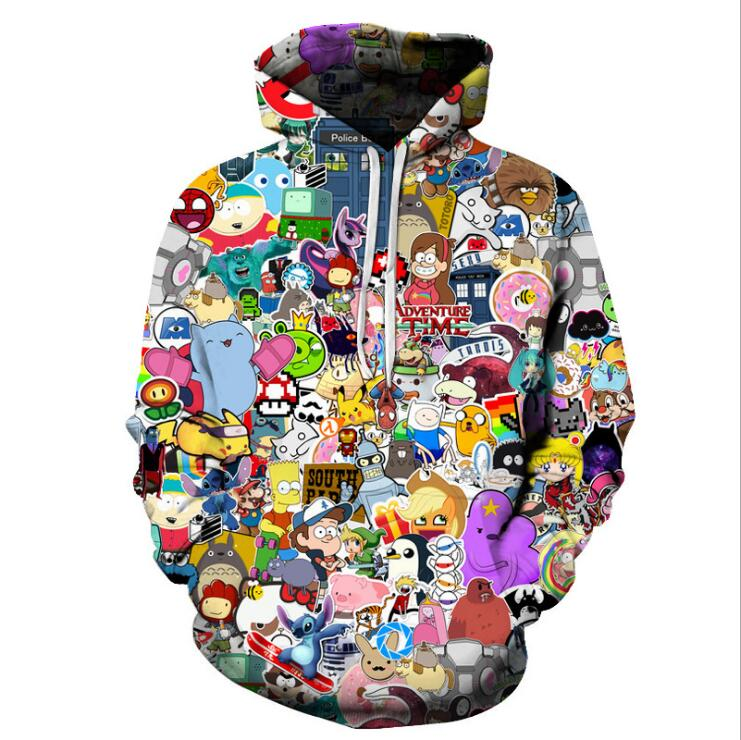 Harajuku Anime Cartoon Hoodies Adventure Time/Totoro/Pokemon Kawaii Clothes 3D Hooded Sweatshirt Sudaderas Mujer 2018