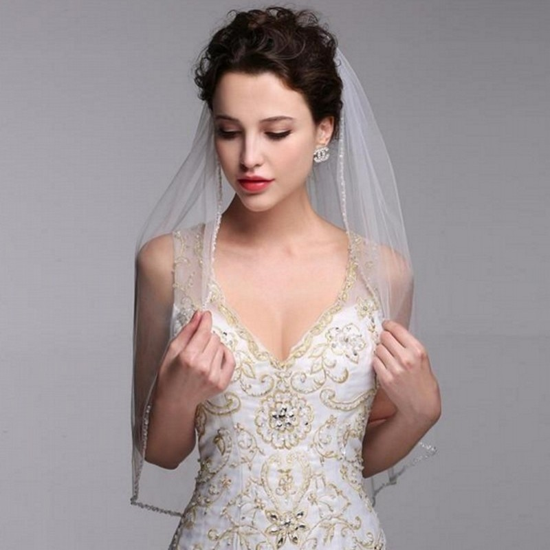 Vintage White IvoryWomen Two Layers Bridal Veil With Combe Tulle Crystal Beaded Wedding Accessories 2019 New Arrival