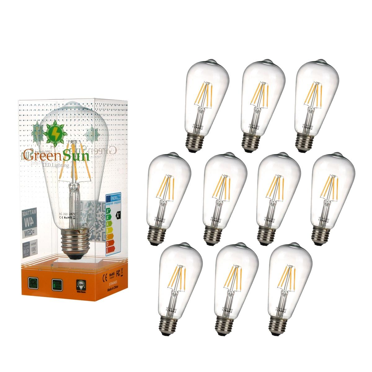 10PPCS E27 4W Edison LED Filament Light Candle Lamp Energy Saving Bulb Warm White 4pcs e27 4w warm white cob led filament globe energy saving bulb light xmas lamp