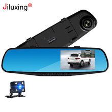 Jiluxing H03S FHD 1080P Car DVR 4.3 car cameras rearview mirror two Dash cam Video Recorder Auto Registrator