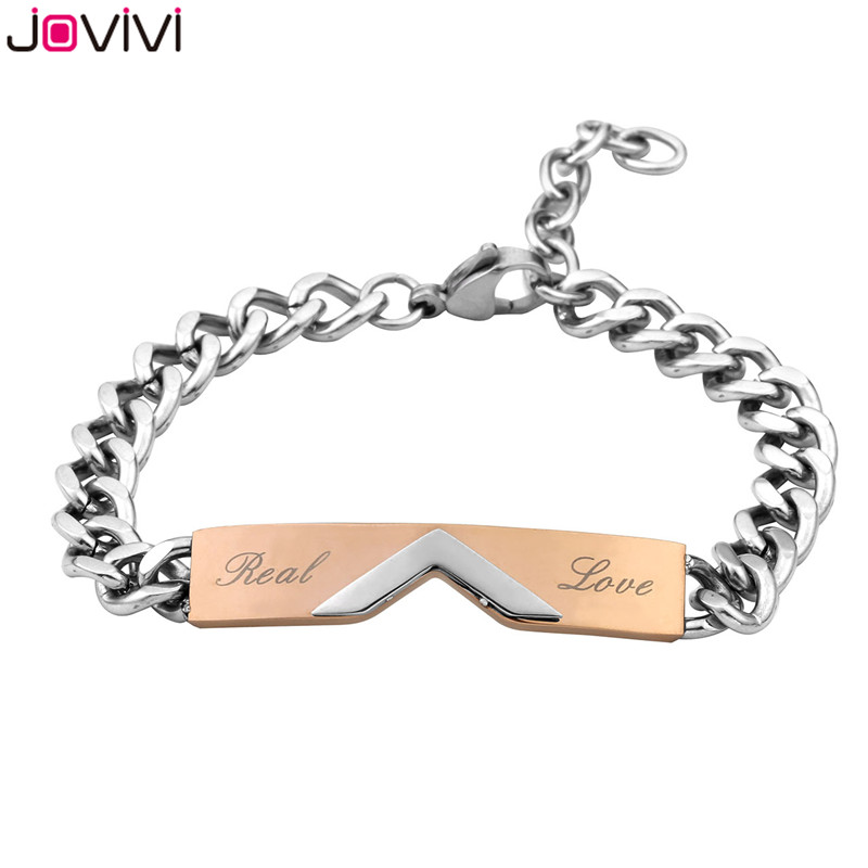 JOVIVI Hot Sale Men Women Stainless Steel CZ Real Love His and Her Couple Bracelets Matching Set Valentines Anniversary Gifts