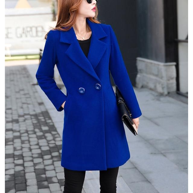 Winter Slim Large size Women Woolen Jacket 2020 New Casual Medium long Solid color Long sleeve Women Woolen Jacket S-4XL SES772 4