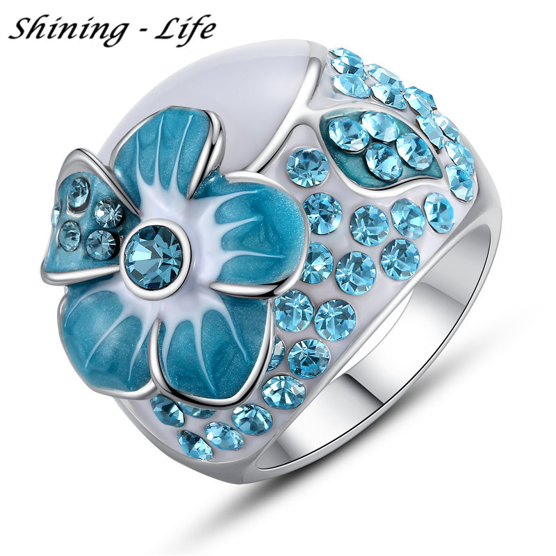 Pink / Purple / Lake Blue Enamel Flower Finger Rings Rose ...