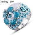 Rosa/Roxo/Lago Azul do Esmalte Flor Anéis de Dedo Subiu Banhado A ouro de Cristal Austríaco SWA Elemento Anéis Grandes Para As Mulheres Anel