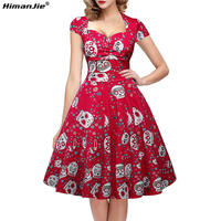 Himanjie Women Dress Casual Summer 2017 Multicolor Skull Pattern Plus Size Vintage Sexy Party Vestidos Swing