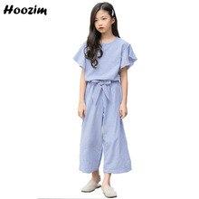 ebc404a260480 المراهقات الملابس مجموعة 8 9 10 11 12 13 14 العمر الأزياء الأزرق مخطط قمم +  السراويل الأطفال عارضة أطفال مجموعة الصيف دعوى للفتي.