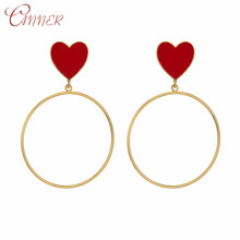 CANNER European Punk Boho Gold Earring Exaggerated Heart Oversize Big Drop Earrings for Women Personalized Statement Jewelry