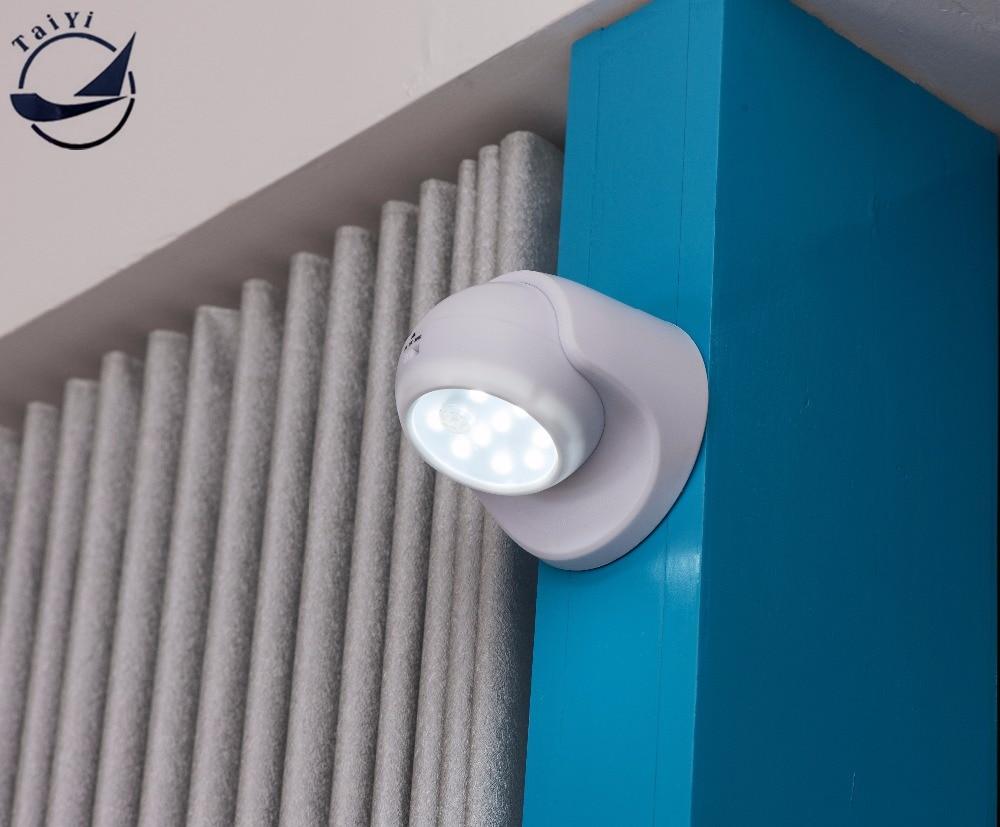 Անվտանգություն 9 LED շարժիչի ցուցիչ Գիշերային լուսավորություն 360 աստիճանի ռոտացիայի պատի լամպի պատուհանի լույսի համար ներսի և արտաքին ավտոմատների համար