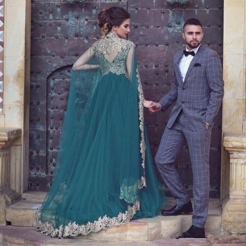 Green Muslim Evening Dresses 2019 Tulle golden Appliques With Detachable cloak Islamic Dubai Saudi Arabic Long Evening Gown-in Evening Dresses from Weddings & Events    1