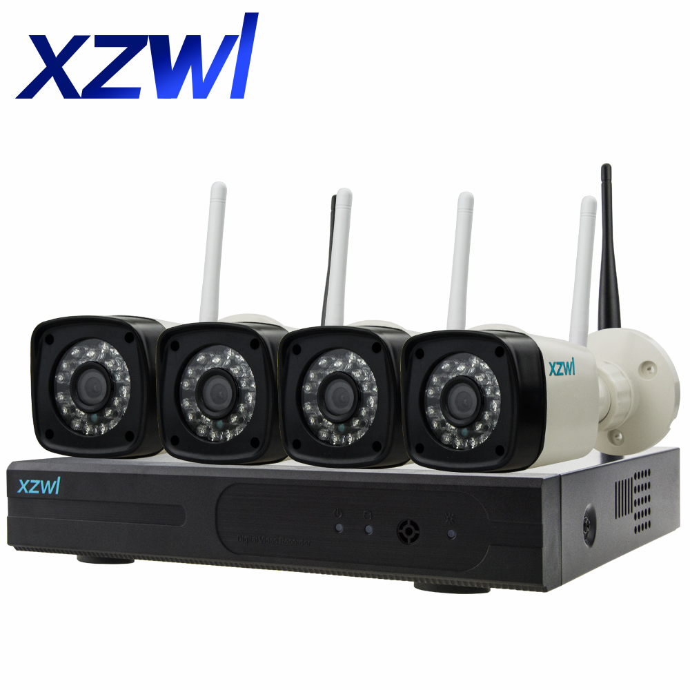 Plug and Play 1080P HD infrared night vision closed circuit TV wifi network IP camera video surveillance 4CH wireless NVR kit