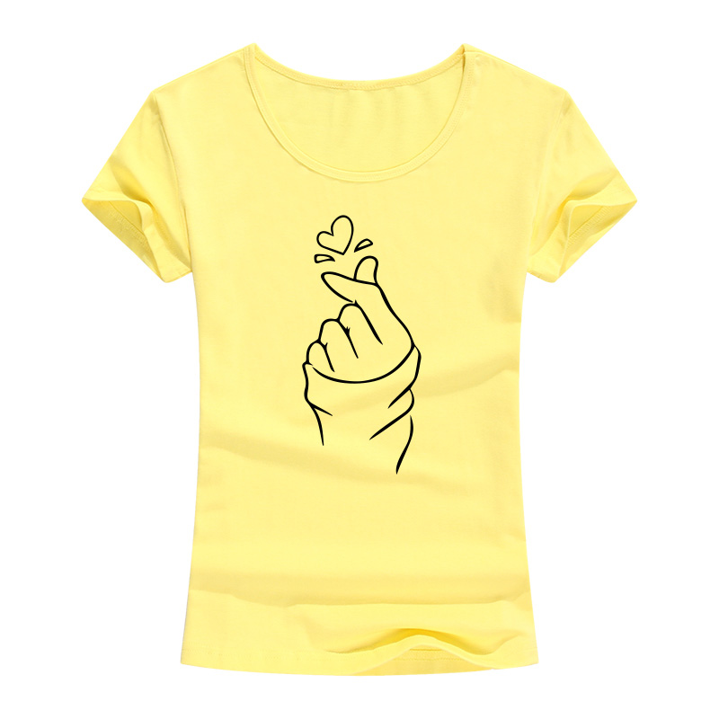 2017 Funny Heart Print T Shirt Women Summer Fashion Casual Short Sleeve Cotton T-Shirt Female Harajuku Lady Girl Tops