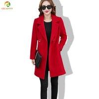 Women Winter Jackets And Coats Double Breasted Elegant Warm Women Woolen Coat 2017 Long Ladies Pure