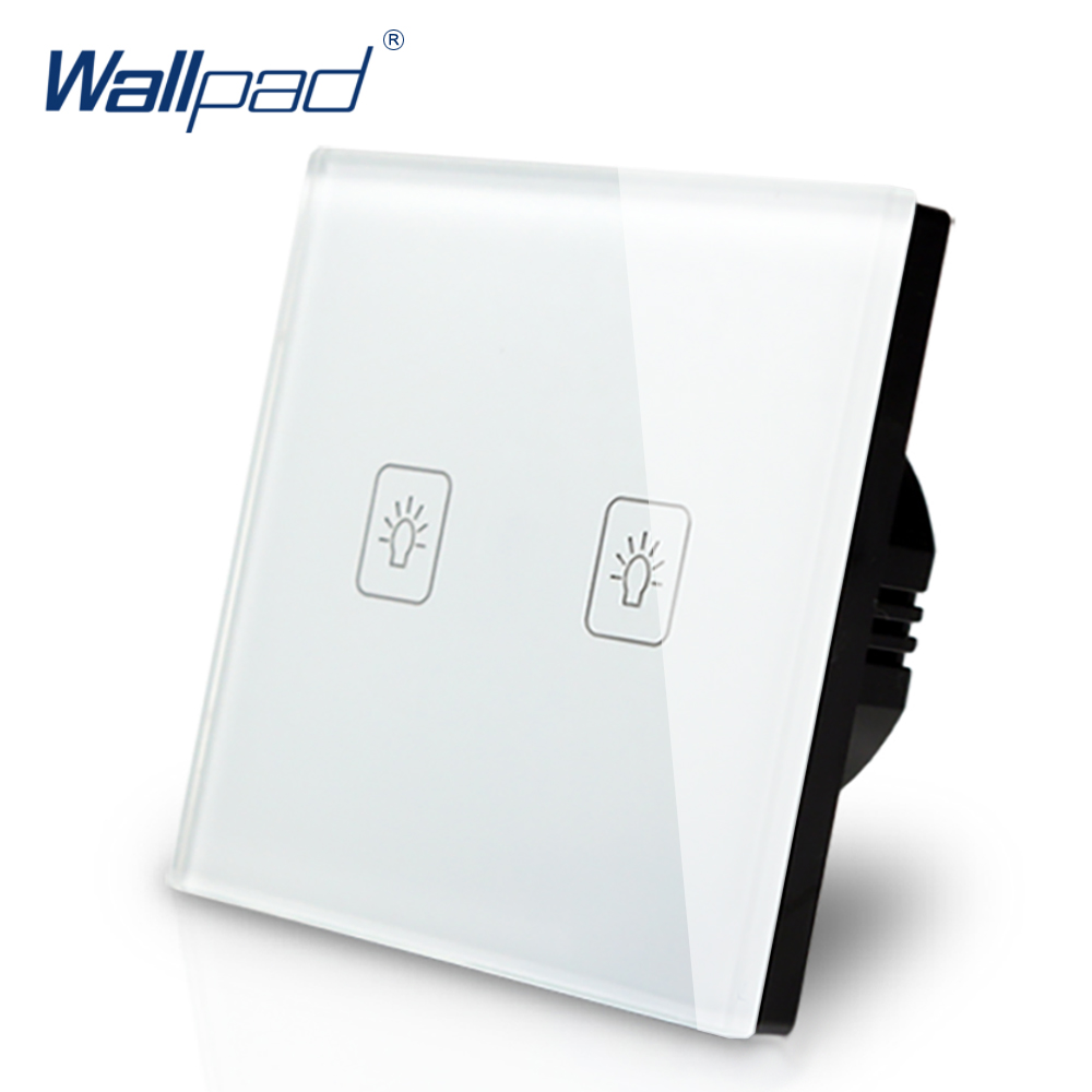 Wallpad Luxury White Crystal Glass Wall Switch Touch Switch Normal 2 Gang 1 Way Switch AC 110-250V European Standard smart home us au wall touch switch white crystal glass panel 1 gang 1 way power light wall touch switch used for led waterproof