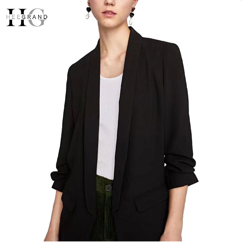 HEE GRAND 2018 Autumn Fashion Women Blazers OL Workwear Suits Plus Size XXL Black Suit Jacket Office Lady Blazer Feminino WWX476