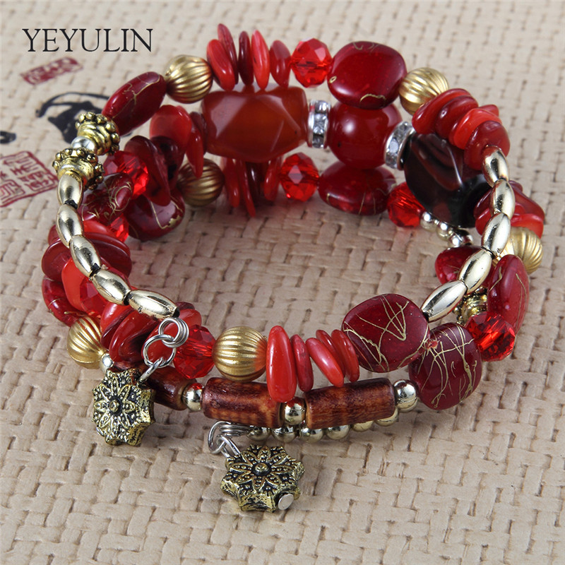 High Grade Bohemia Wood Plastic CCB Beads Chain Multilayer Bracelet for Women Bangles Jewelry