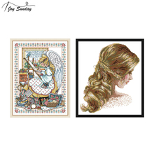 Joy Sunday Cross Stitch Patterns Angel Embroidery 11ct 14ct Printed Canvas DMC Threads for Cross Stitching DIY Hand Needlework