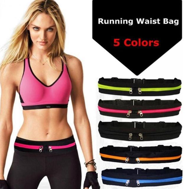 Waterproof Elastic  Running Jogging Waist Bags Pocket Adjustable Outdoor Phone Money Anti-theft Pack Belt Cycling Zip Pouch