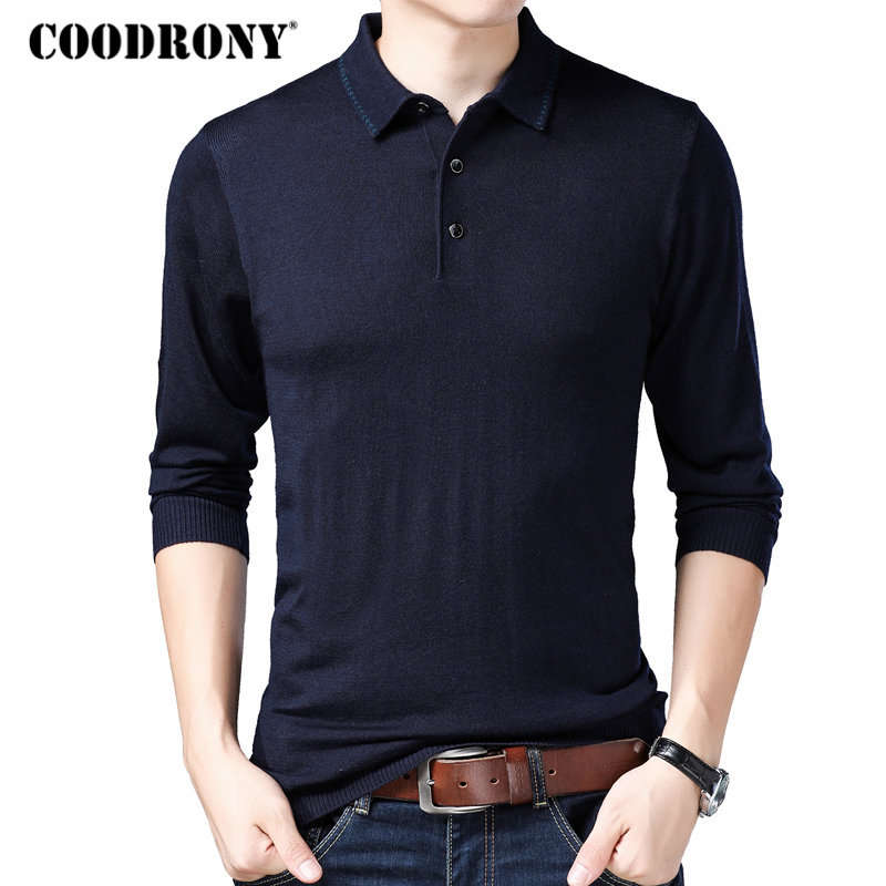 COODRONY Brand Sweater Men Turn-down Collar Knitwear Pull Homme Soft Wool Pullover Men 2019 Autumn Plus Size Mens Sweaters 91034