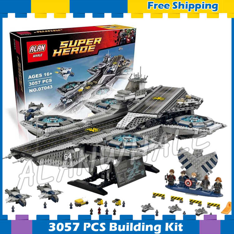 3057pcs Super heroes Avengers The SHIELD Helicarrier Aircraft Carrier 07043 Model Building Blocks Gifts Set Compatible with Lego