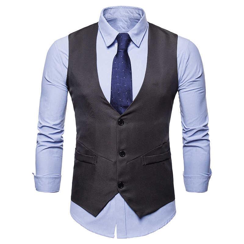Einreiher Anzug Weste Männer Marke Neue Herren Kleid Anzug Weste Formale Geschäfts Hochzeit Weste Mode V Kragen Ärmelloses Gilet