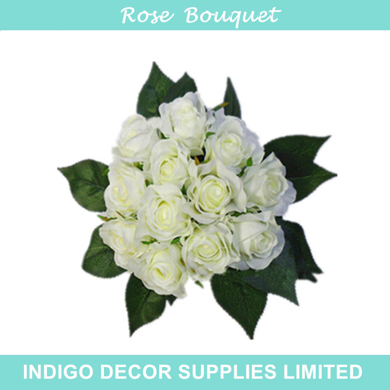 Indigo Bride Whole 50 Sets Wedding Flower Bouquet 12 Flowers Bundle Tea Rose Silk Fl Even Party Free Shipping In Artificial Dried