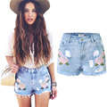 2016 New Summer Women Shorts Fashion Short Jeans Embroidery Floral Print Denim Shorts High Waist Sexy Skinny Ripped Jeans Shorts