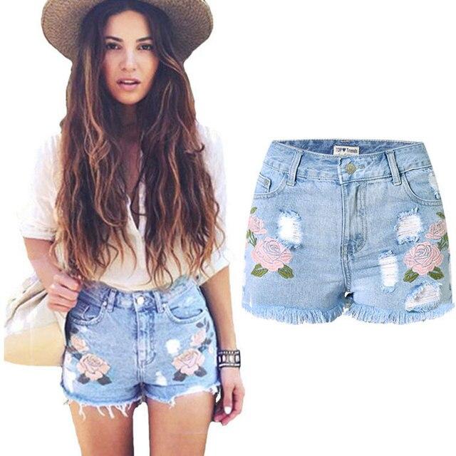 2016 Nuevas Mujeres Del Verano Pantalones Cortos de Moda Los Pantalones Vaqueros Cortos Bordado Floral Print Denim Shorts de Cintura Alta Sexy Flaco Ripped Jeans Shorts