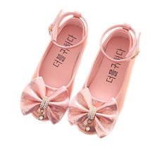 Gold pink silver Childrens shoes Girl Shiny bows Rhinestone Princess dancing Spring Dance Wedding Party Shoes