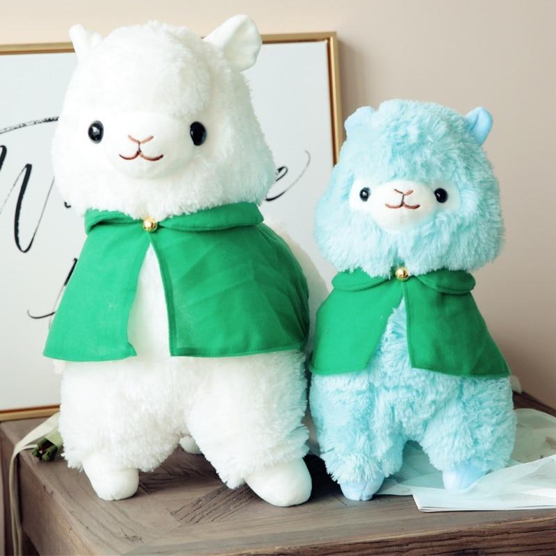 Sweet Alpacasso toy with green cloak Stuffed standing Alpaca plushToys Dolls Soft Animal Kawaii Gift for Kids