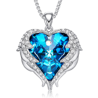 Shiny Angel Wing Heart Crystal Pendant Necklaces Gifts for Mothers Day Silver Color Inlaid Zircon Necklace Jewelry for Women