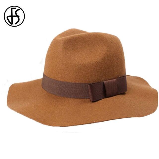 FS Lady Brand Winter Brown Black Red Wide Flat Brim Wool Trilby Fedora Hat  For Women Bowler Felt Hats With Belt Bonnet Femme 1b5d25b4449