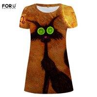 FORUDESIGNS Women Cool Halloween Dress Women Mid Dress Pumpkin Bat Print New Arrival Halloween Party Dress